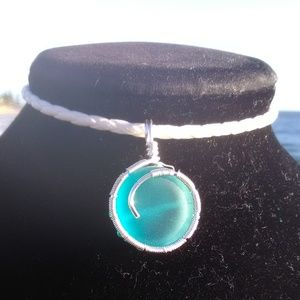 Silver Wrapped Blue Sea Glass Wh Leather Necklace